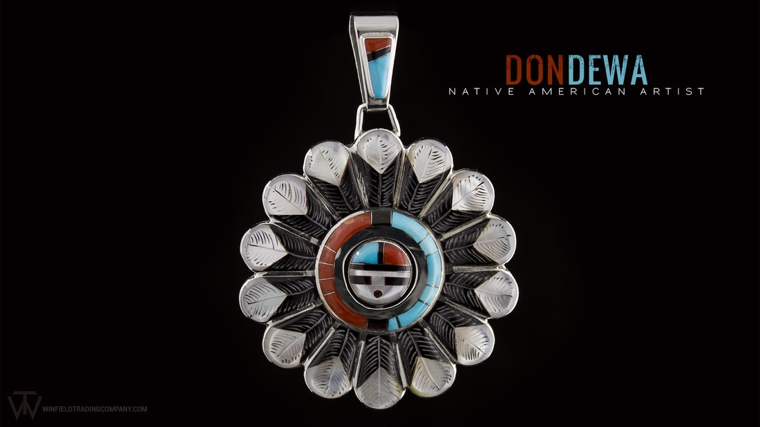 Don Dewa does such beautiful and detailed pieces. Despite its use of traditional style colors his pieces never cease to amaze! This Pendant is no exception. It even includes a spinning inner circle, kind of Don's trade mark design.