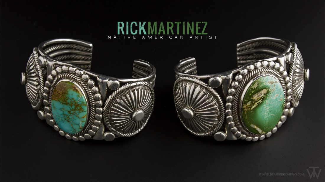 Two Beautiful pieces by Rick Martinez. Nicely intricate stamp work and detailed symmetry. Both have a large cab Royston Turquoise.
