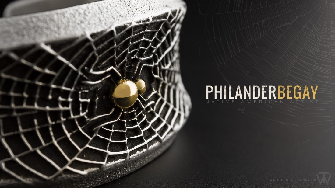Shall we start off the week with something a little different? This very unique Tufa Cast Bracelet by Philander Begay incorporates a detailed Spider Web design topped with some 14K Drops for the Spider body. The artist was able to get 2 of these from the mold, but the second one is not without imperfections. This one however came out near perfect.