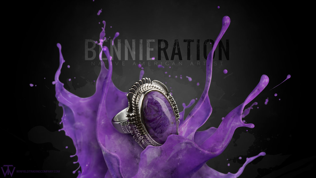 Another fun photo featuring a beautiful Ring by Bennie Ration. The ring has some great detailed designs and a nice piece of Charoite. Enjoy!